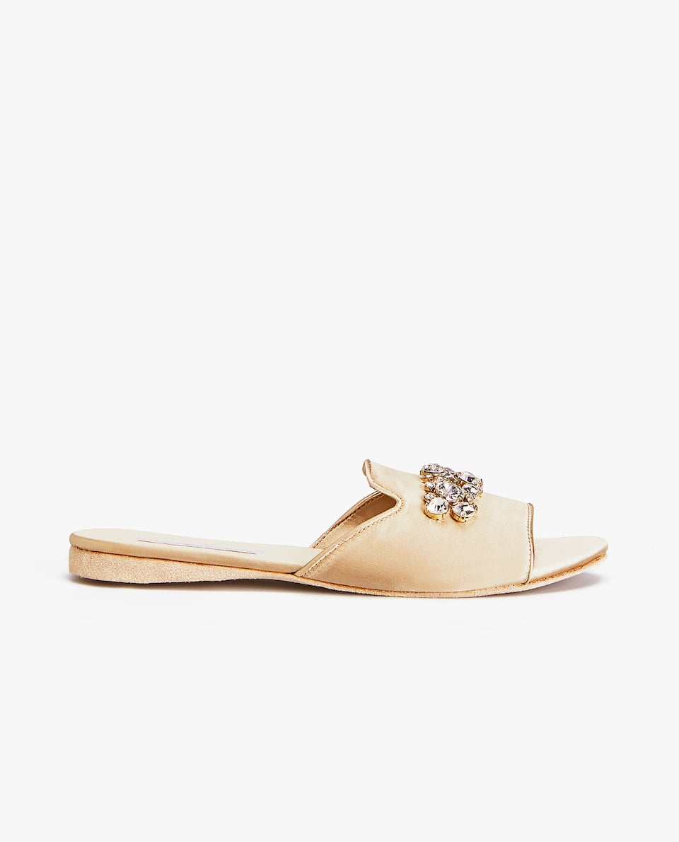 BEJEWELLED SATIN SLIDES