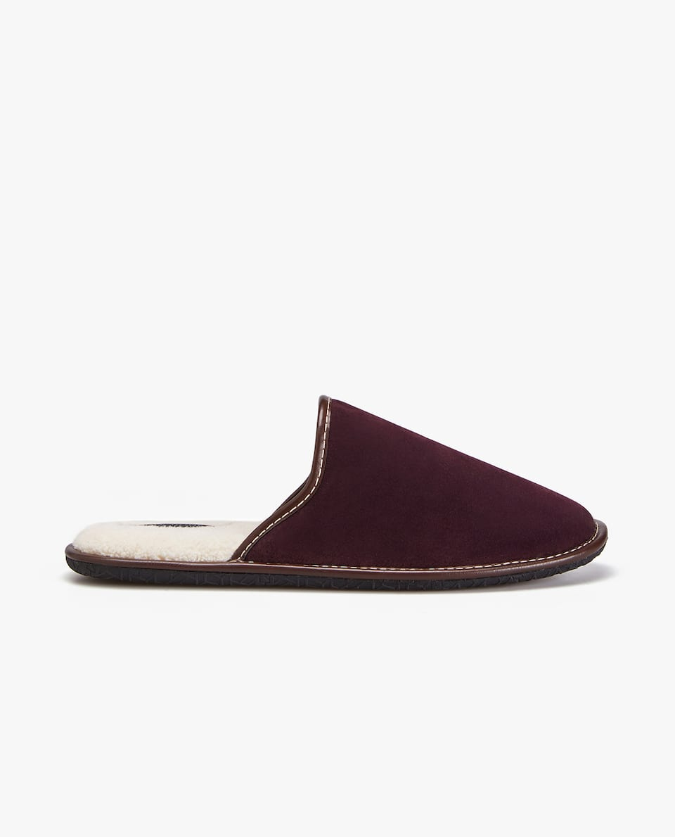 COLOURED FAUX SHEARLING-LINED SLIPPERS