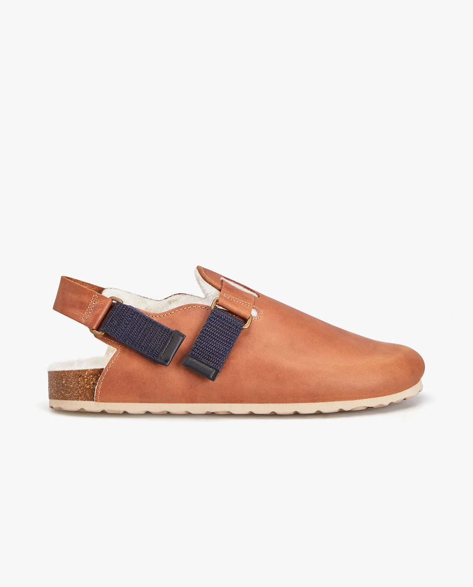 WARM LEATHER MULES