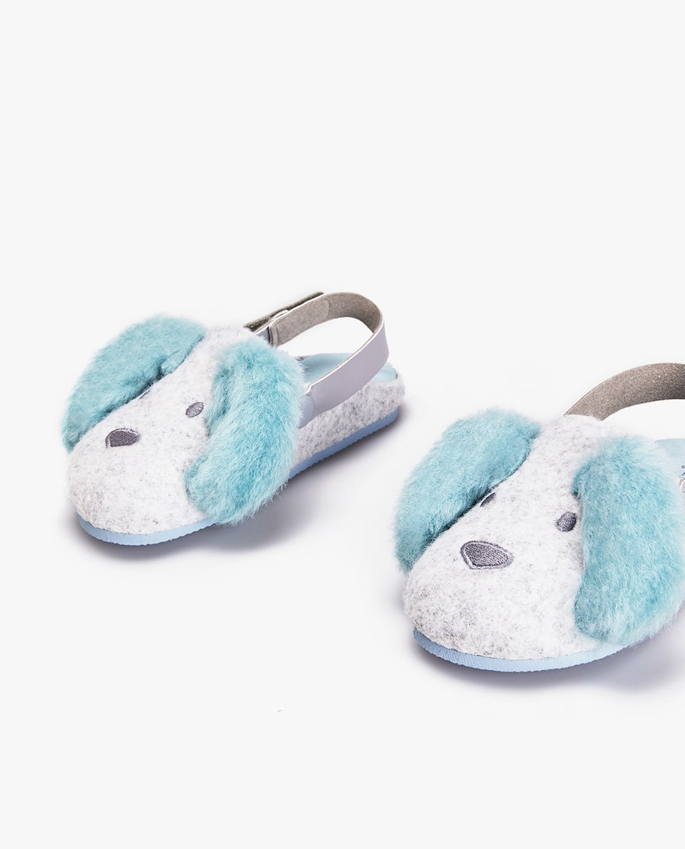 FELT CLOG-STYLE DOG MULE SLIPPERS