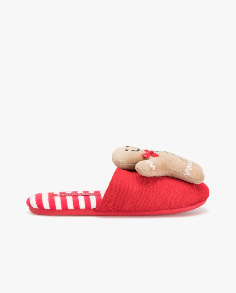 CHRISTMAS GINGERBREAD MAN MULE SLIPPERS