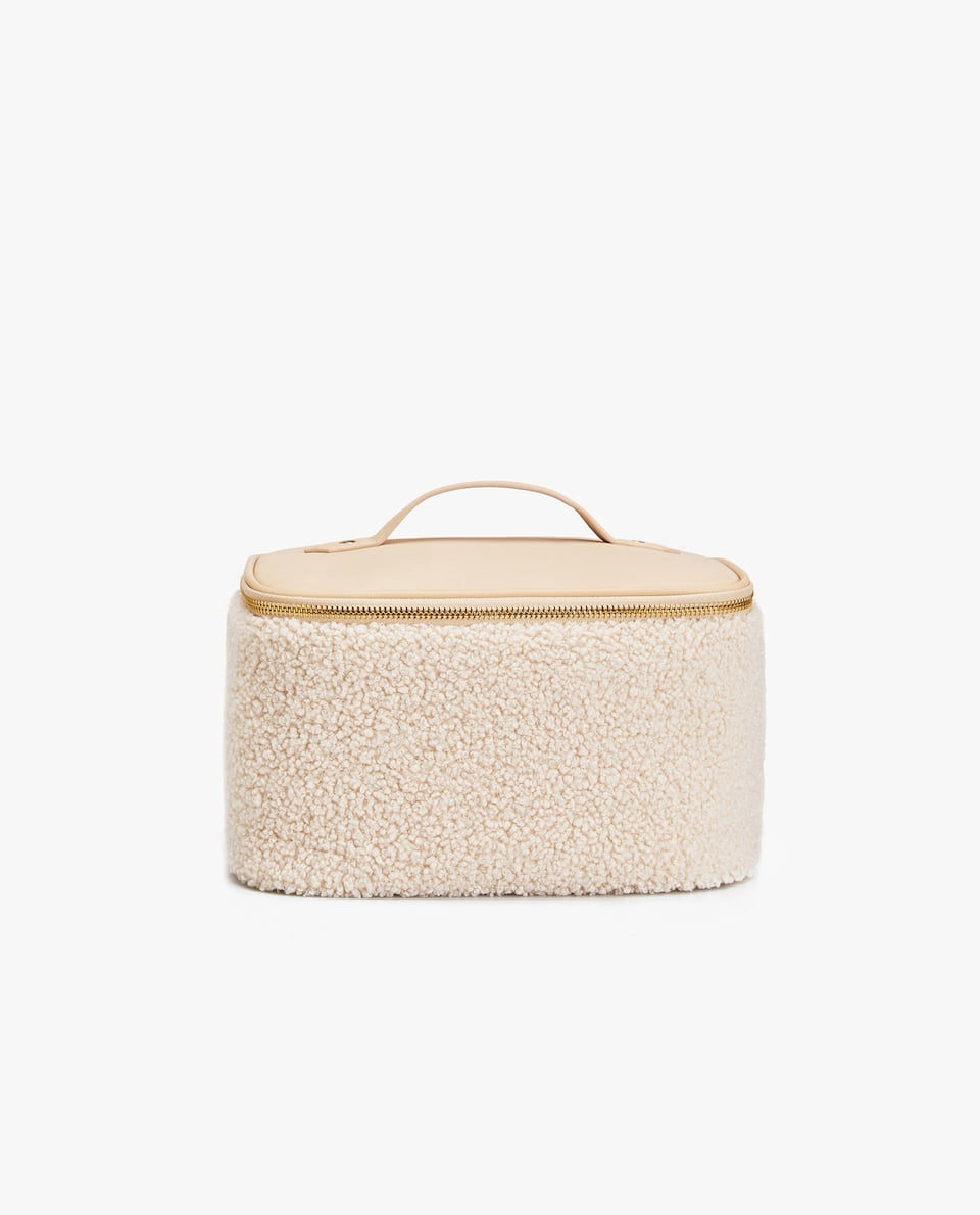 FAUX SHEARLING TOILETRY BAG