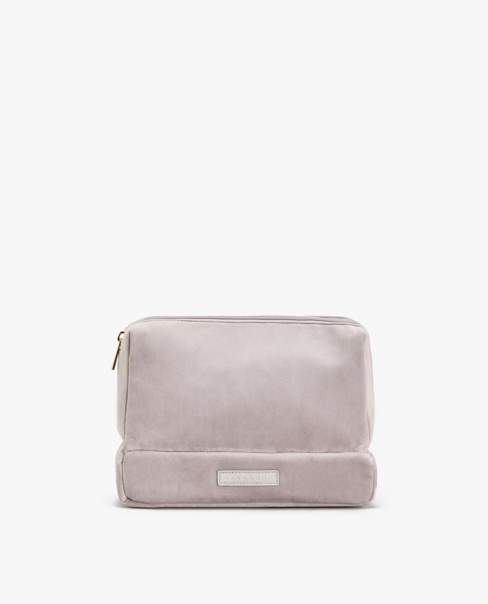 Velvet Triple Compartment Toiletry Bag by Zara Home