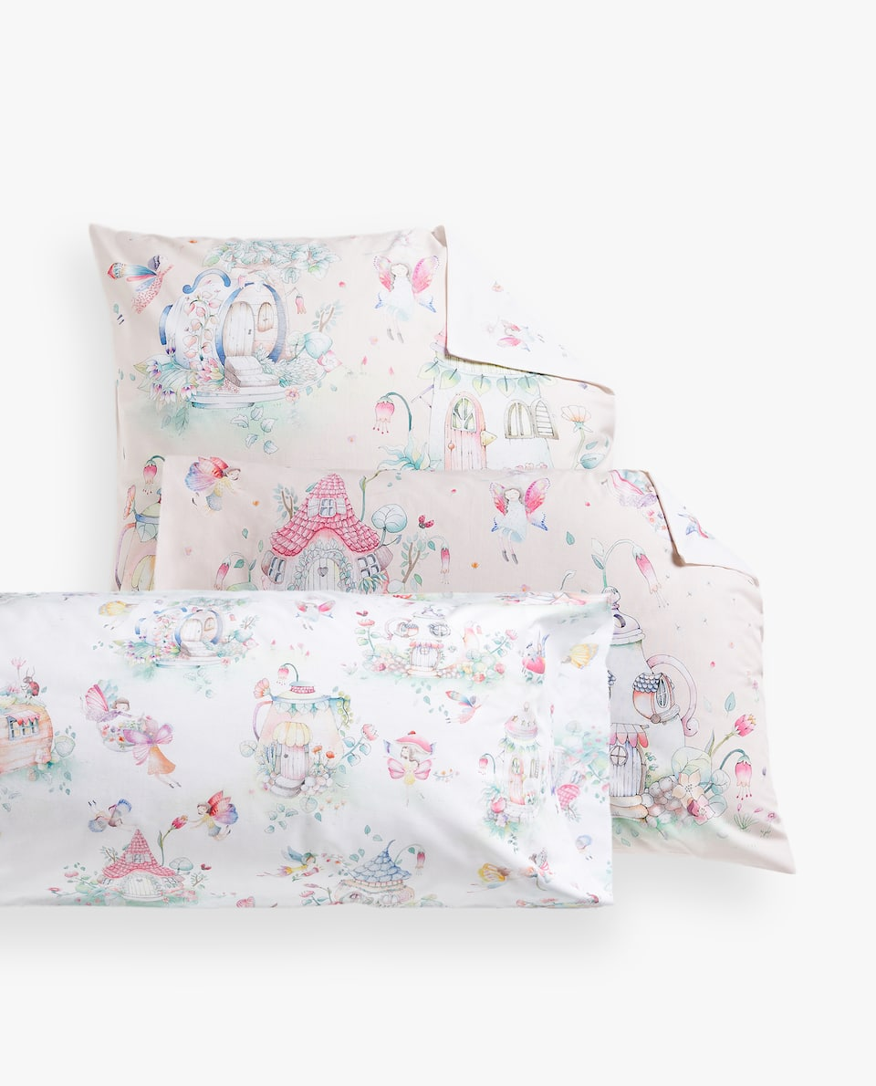 FAIRIES AND HOUSES PRINT PILLOWCASE