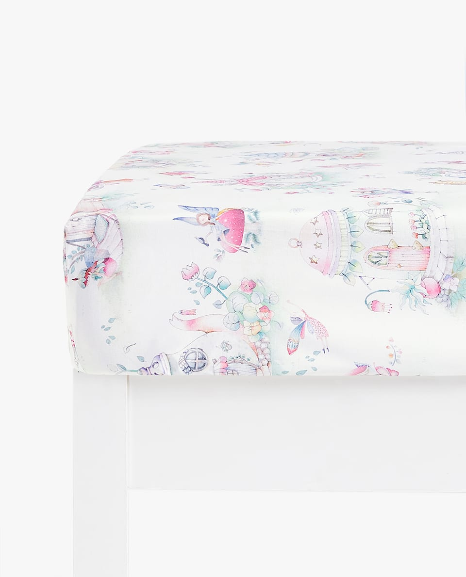FAIRY AND HOUSE PRINT FITTED SHEET
