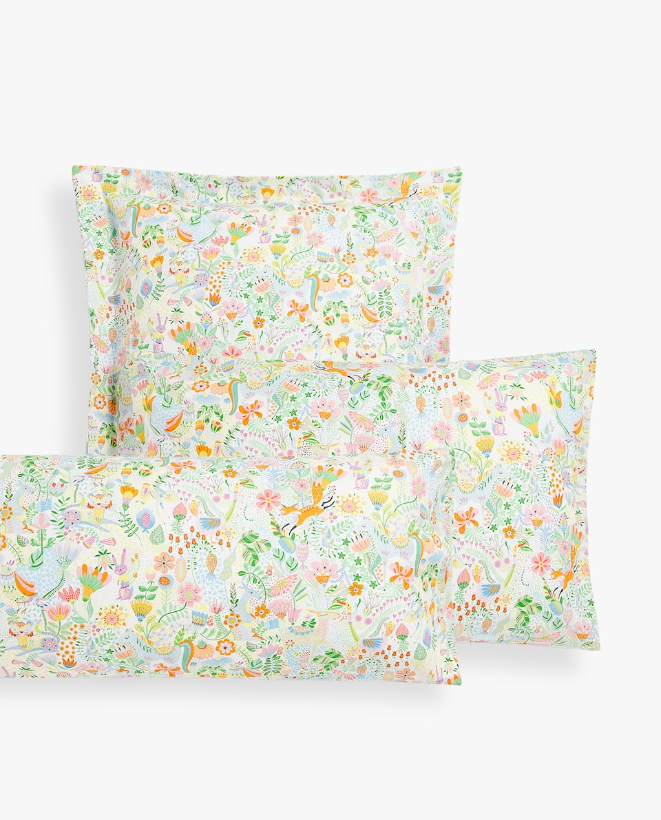 ANIMALS AND FLOWERS PRINT PILLOWCASE