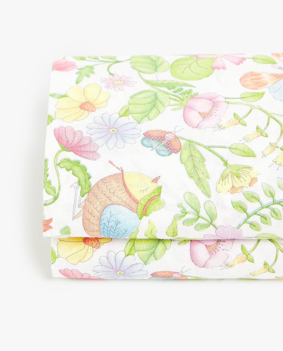 FLOWERS AND BIRDS FLAT SHEET