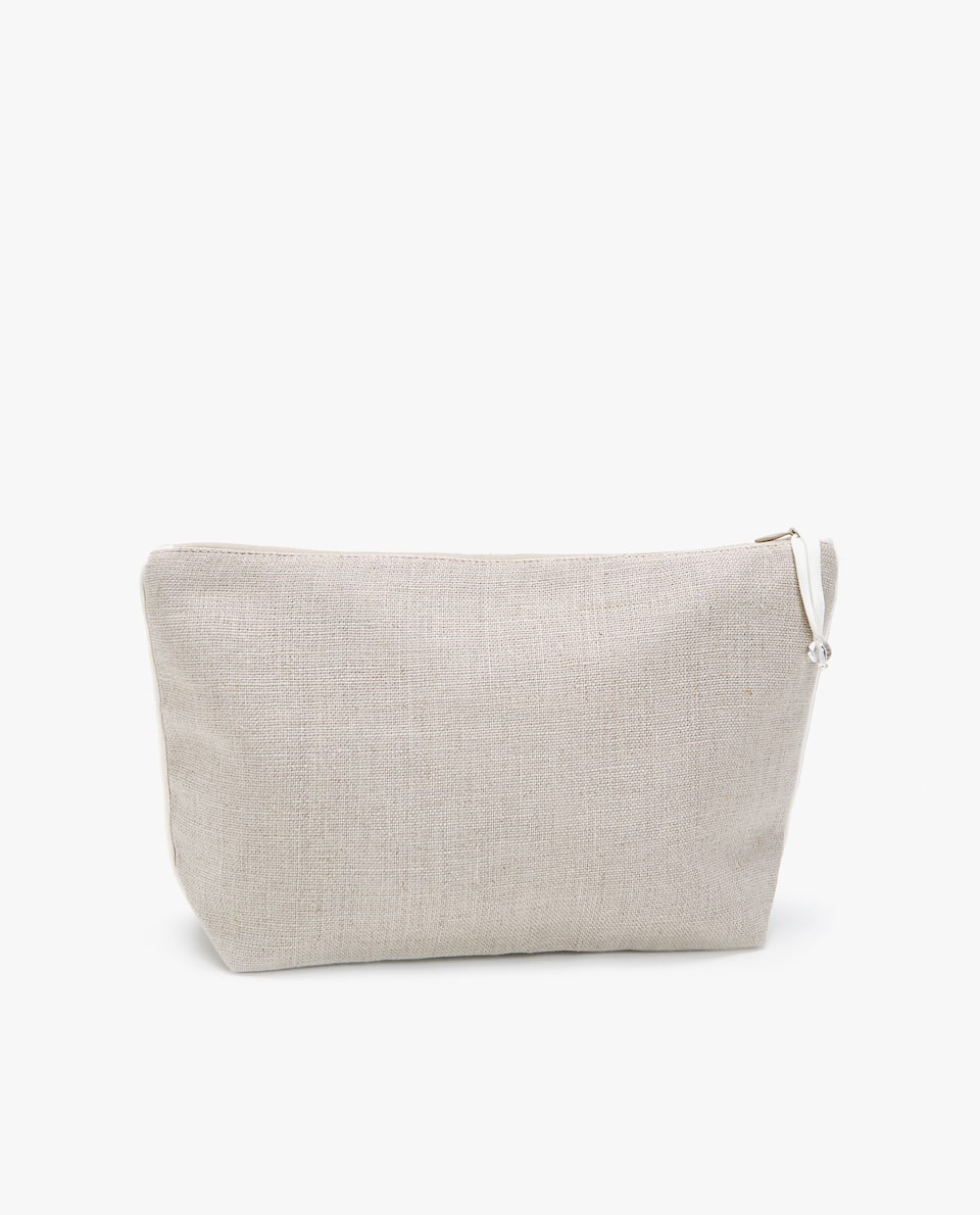 LINEN TOILETRY BAG WITH WHITE TRIM