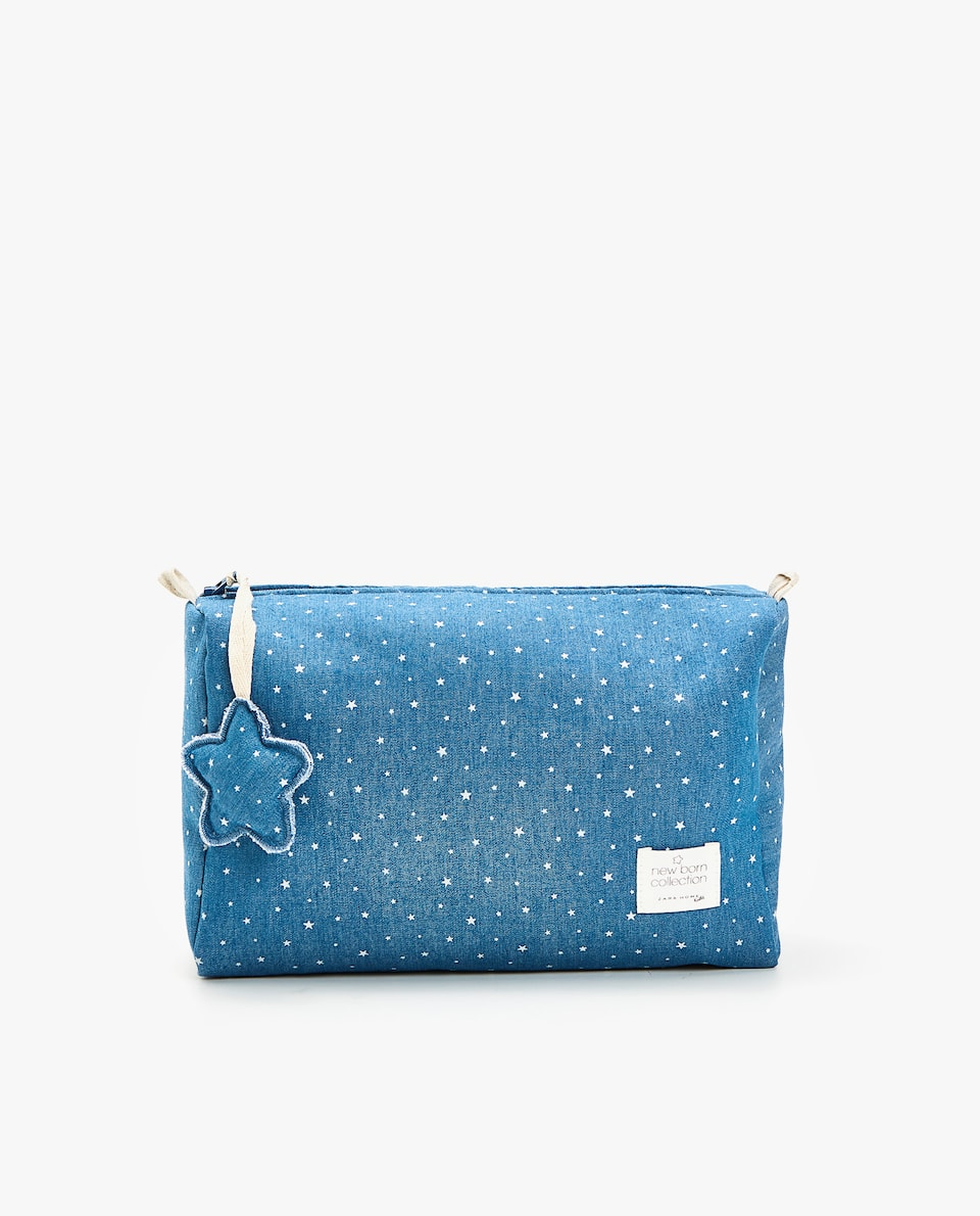DENIM STAR PRINT TOILETRY BAG