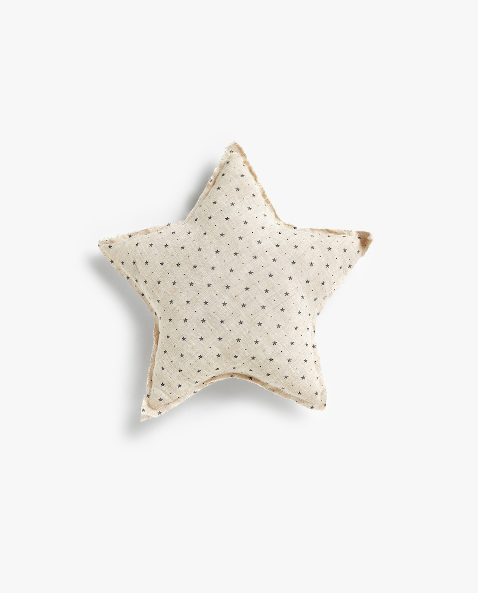 LINEN STAR PRINT CUSHION
