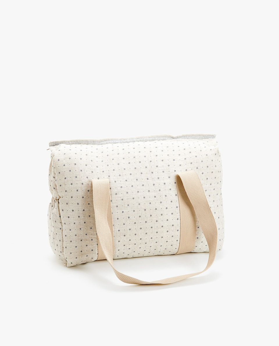 LINEN STAR PRINT MATERNITY BAG