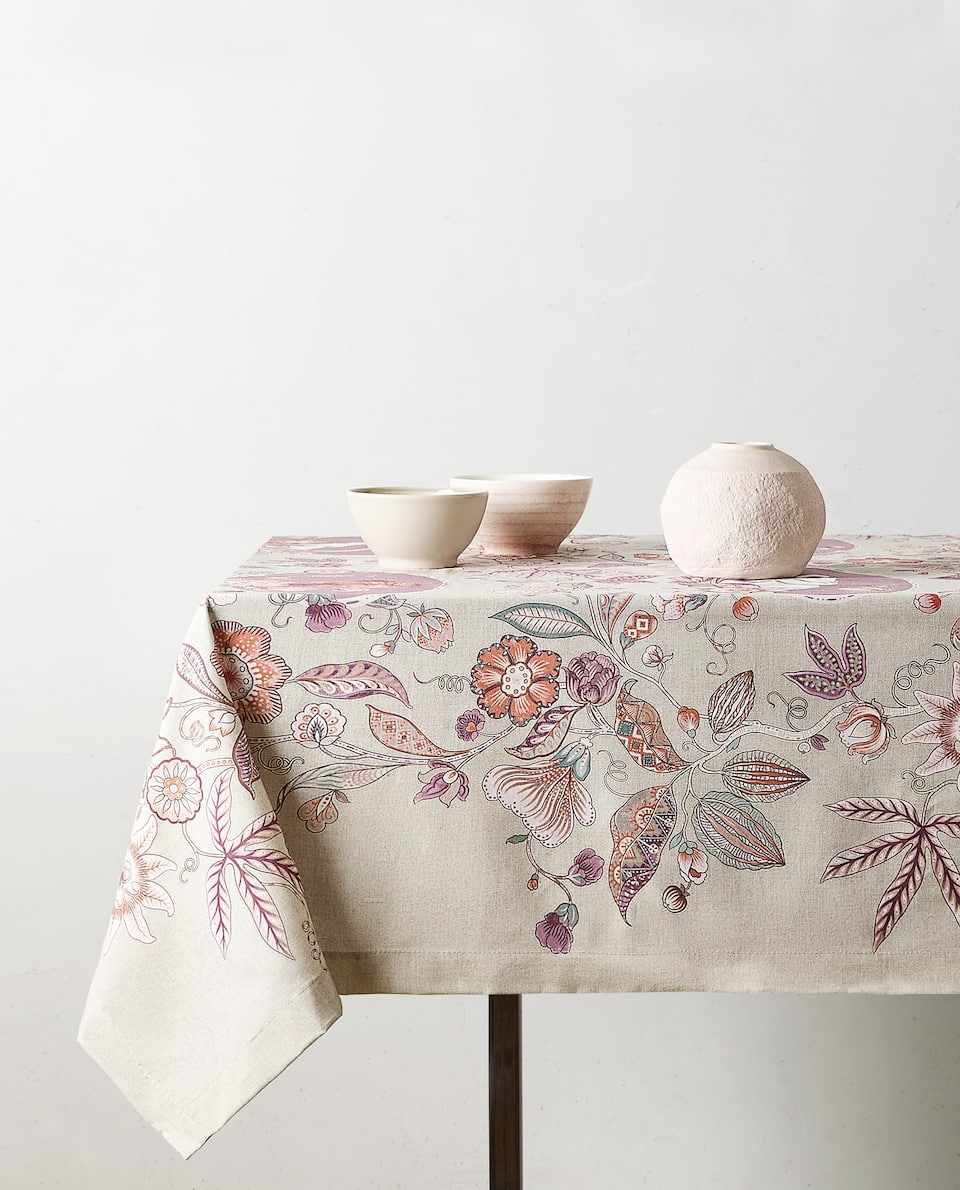 FLORAL PRINT COTTON TABLECLOTH