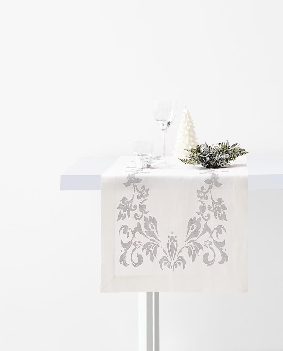 PRINTED LINEN TABLE RUNNER