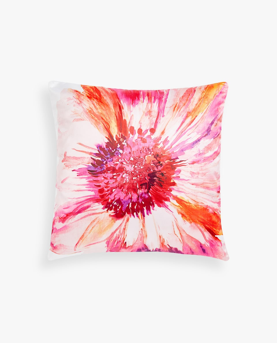 PINK-TONED MAXI FLOWER CUSHION COVER