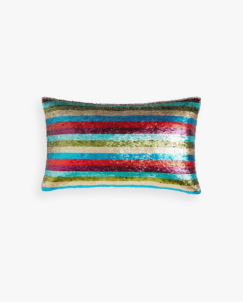 MULTICOLOURED SEQUINS CUSHION COVER
