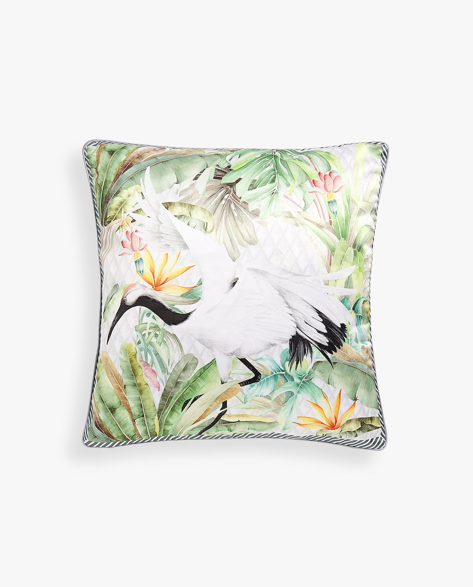 CRANE PRINT CUSHION COVER