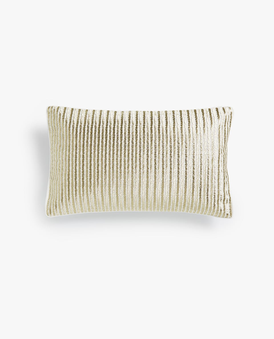 EMBROIDERED IRREGULAR STRIPES CUSHION COVER