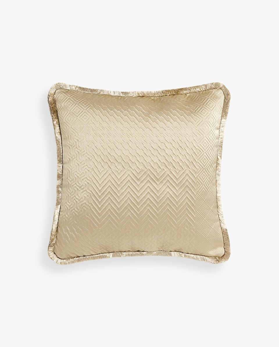 JACQUARD CUSHION COVER WITH FRINGE