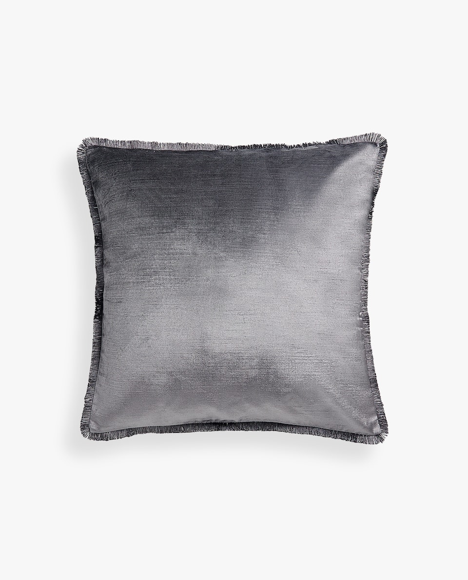VELVET CUSHION COVER WITH FRINGE