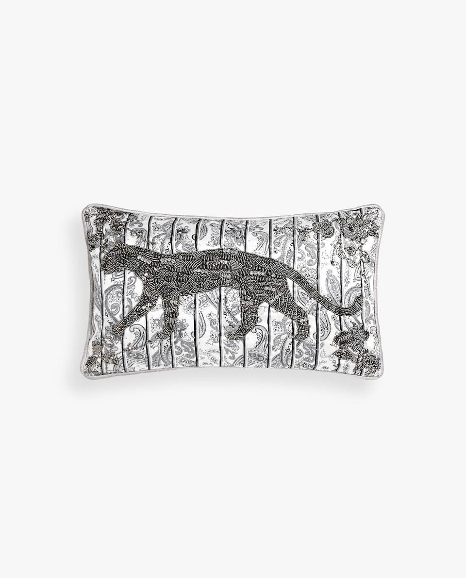 PANTHER CUSHION COVER WITH BEADS