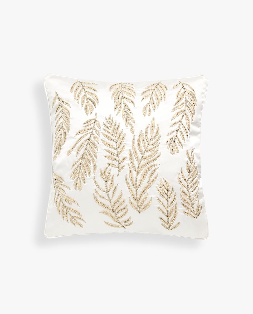 LEAVES CUSHION COVER WITH BEADS