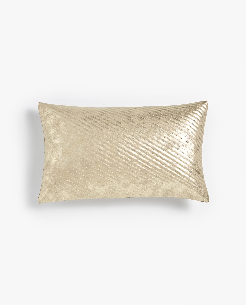 QUILTED FAUX LEATHER CUSHION COVER