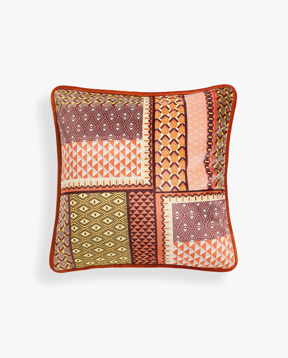PATCHWORK-EFFECT CUSHION COVER