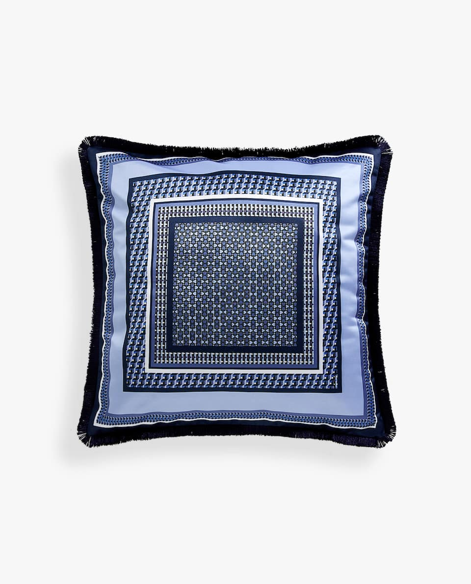 PRINTED PATTERN CUSHION COVER WITH FRINGE