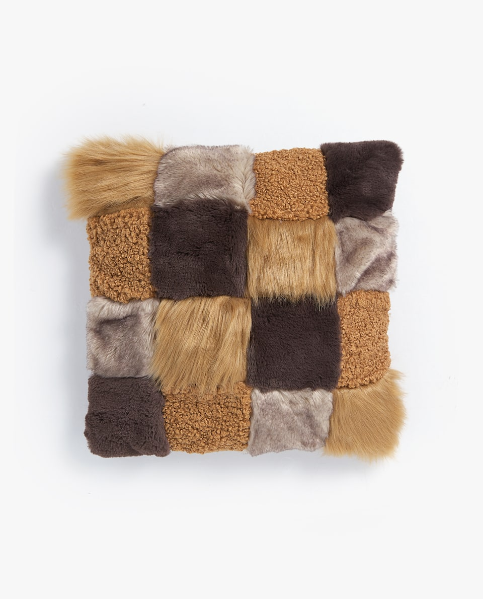 FAUX FUR PATCHWORK CUSHION COVER