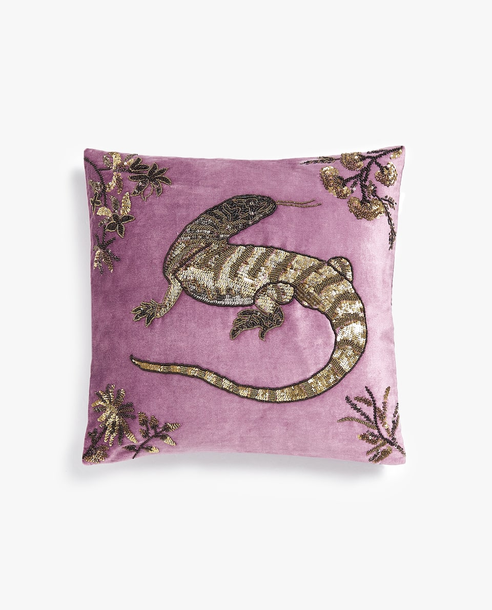 EMBROIDERED SALAMANDER CUSHION COVER