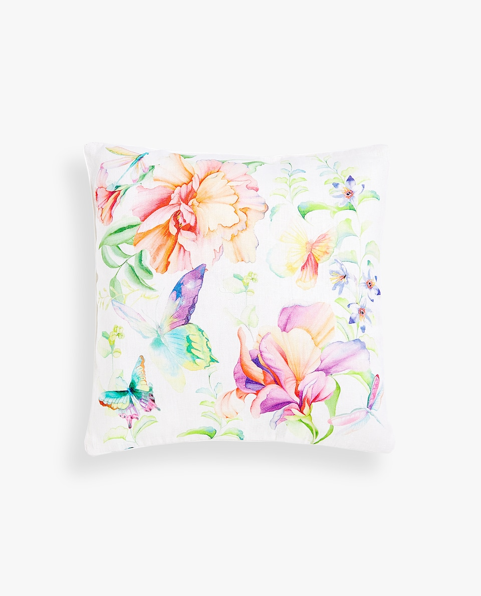 FLOWER AND BUTTERFLY CUSHION COVER
