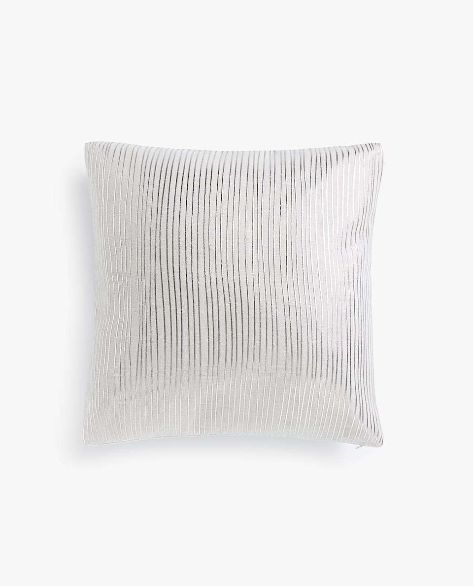 METALLIC STRIPE LINEN CUSHION COVER