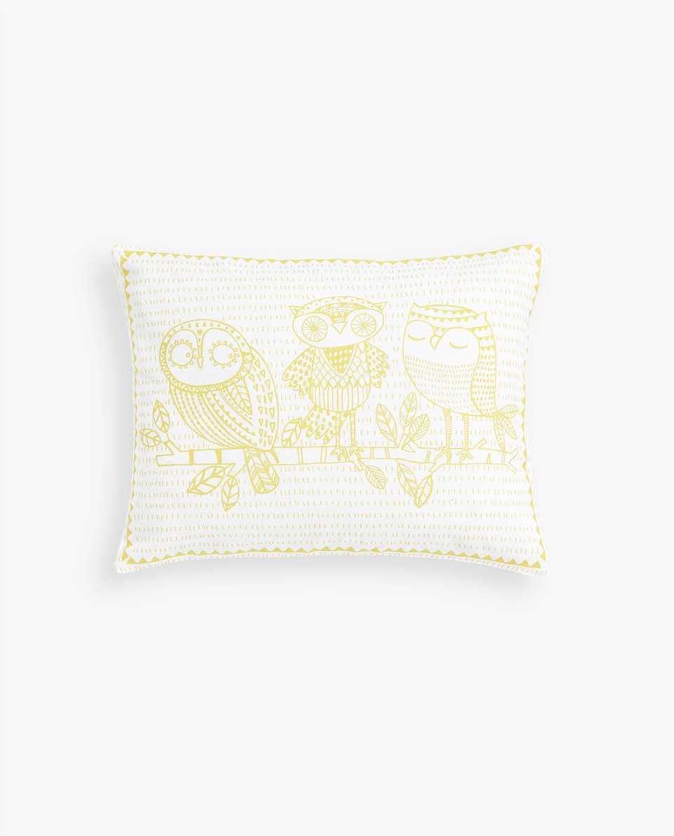 OWL PRINT CUSHION COVER