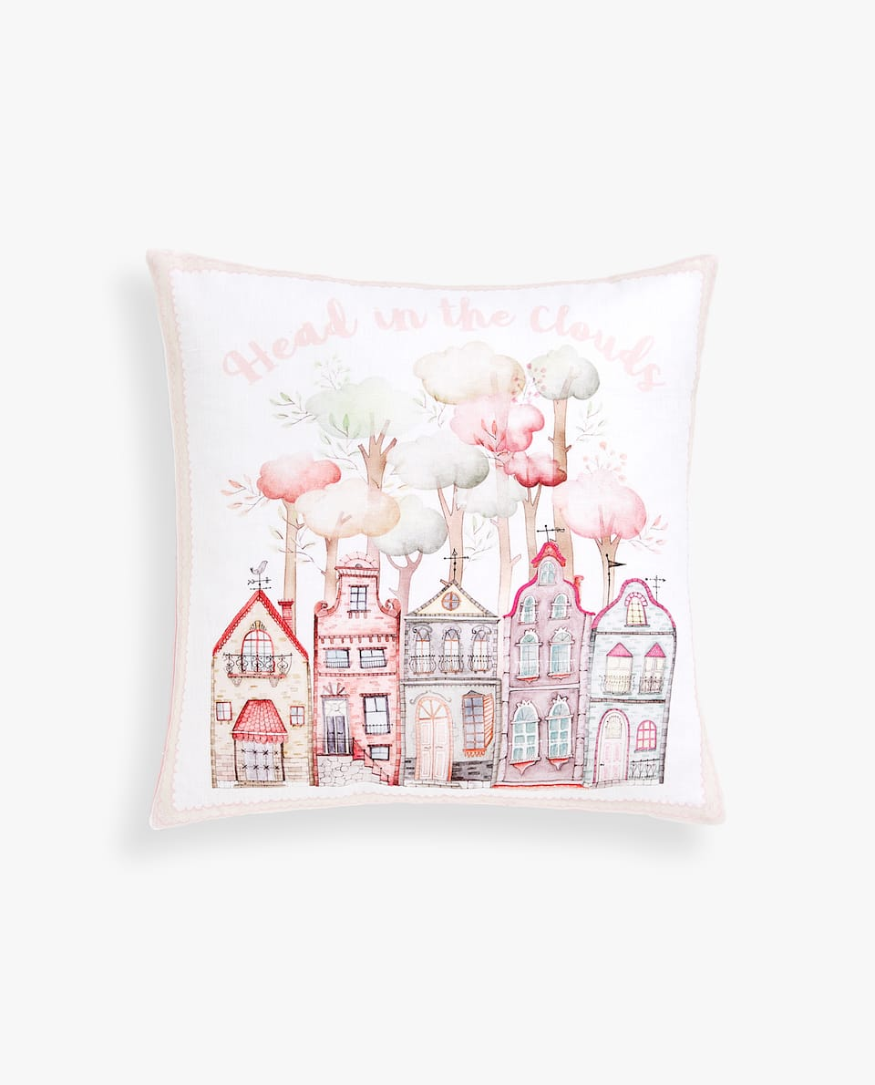 LINEN CUSHION COVER WITH LITTLE HOUSES PRINT
