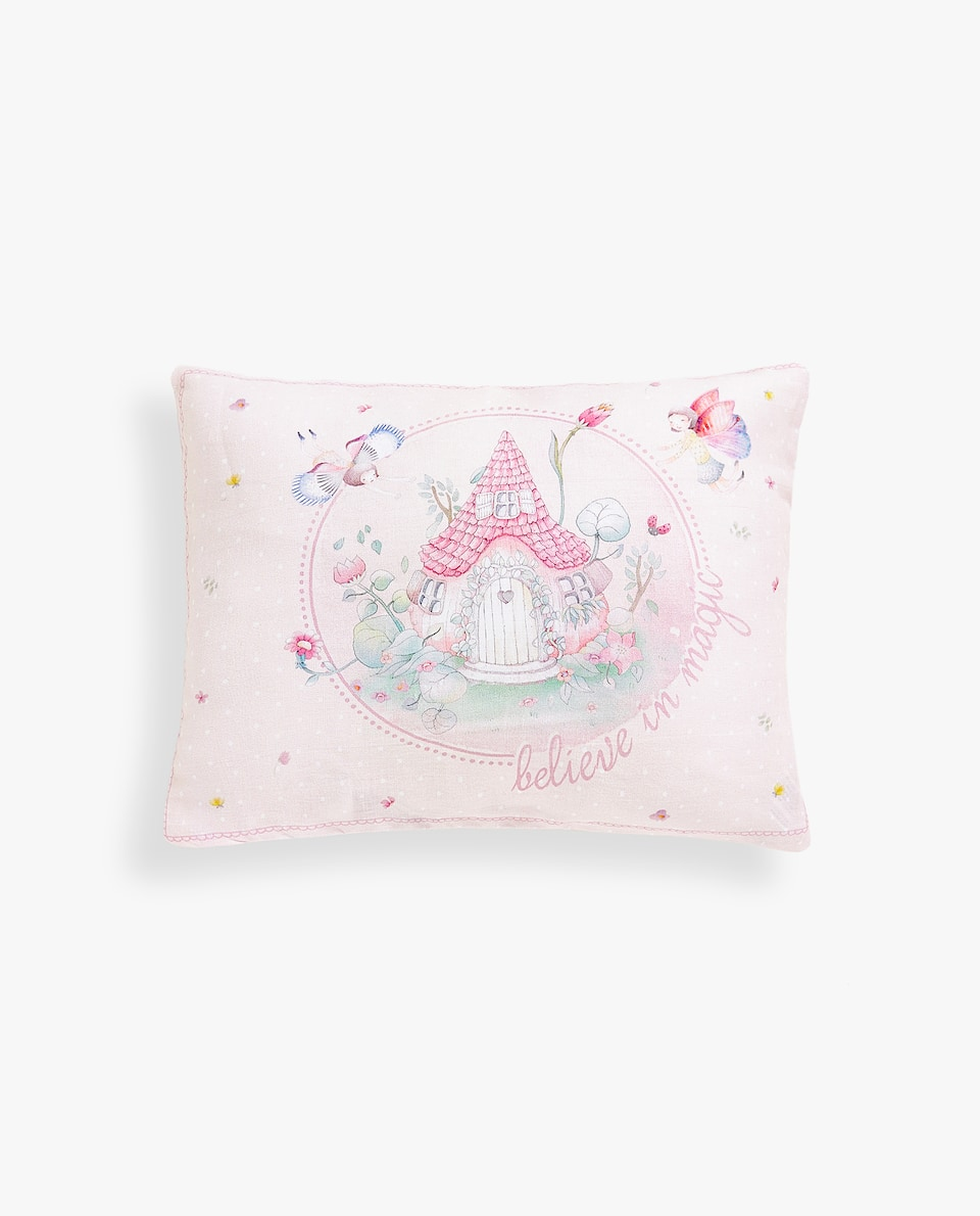 LINEN CUSHION COVER WITH FAIRY-TALE HOUSE PRINT