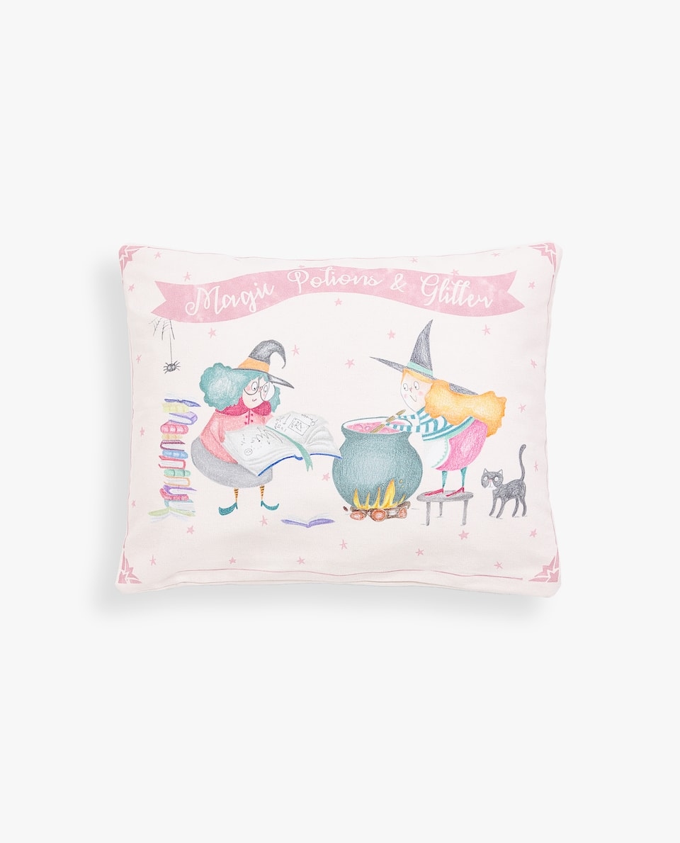 LITTLE WITCH CUSHION COVER WITH SLOGAN