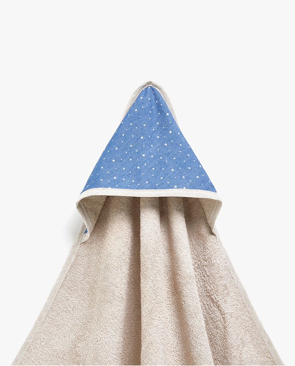 STAR PRINT DENIM BABY TOWEL