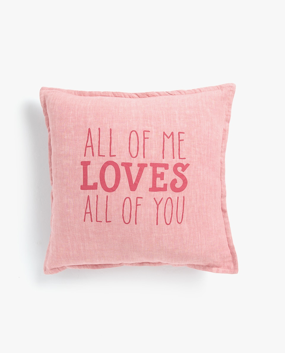 WASHED LINEN CUSHION COVER WITH SLOGAN