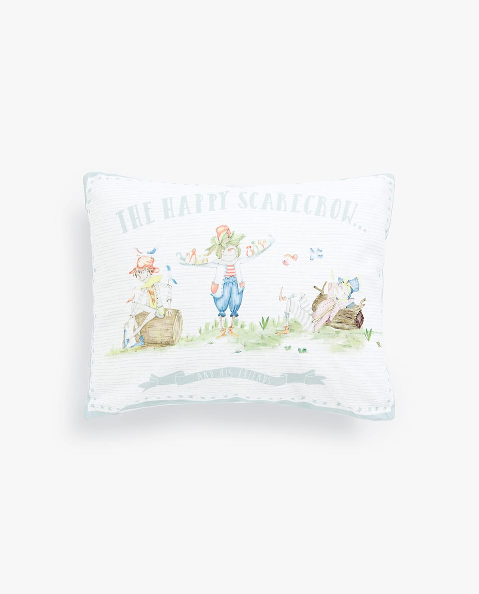 SCARECROW CUSHION COVER WITH SLOGAN