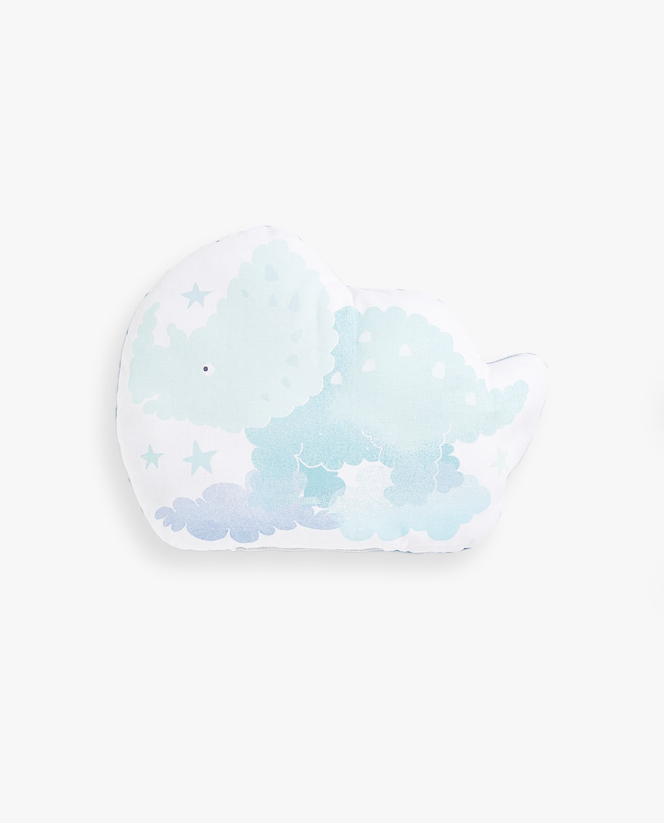 FILLED CUSHION WITH CLOUD-EFFECT DINOSAUR PRINT