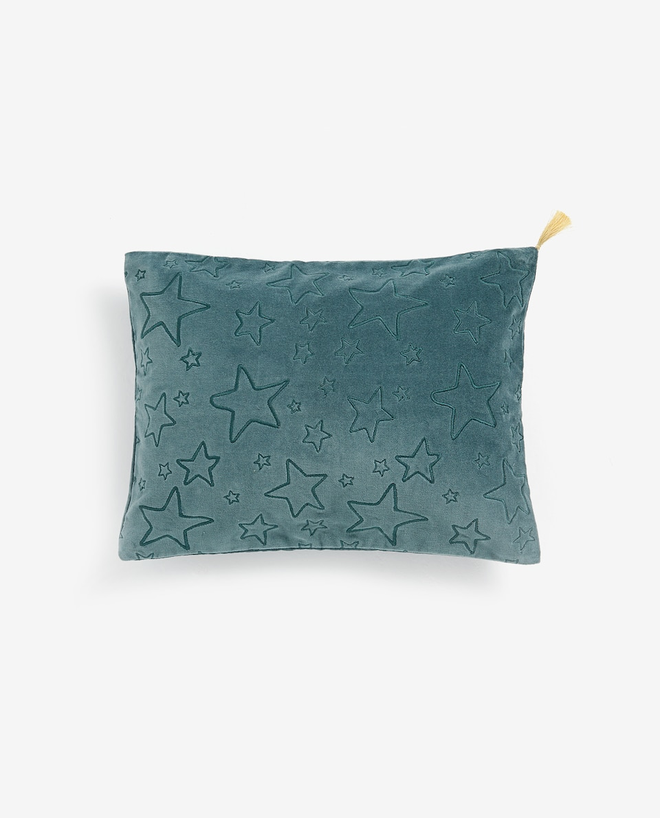VELVET CUSHION COVER WITH LITTLE STARS