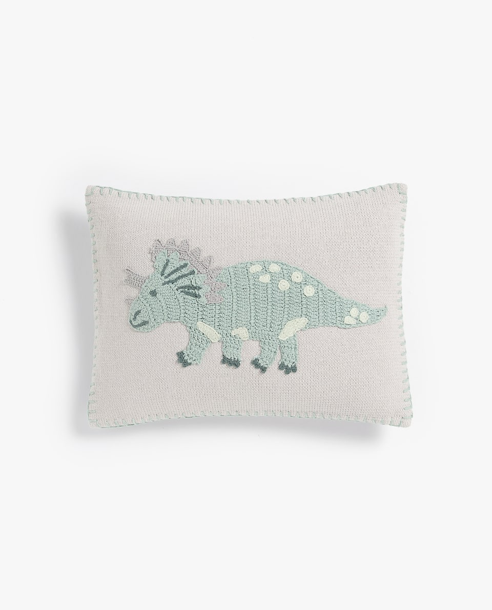 DINOSAUR CROCHET CUSHION COVER