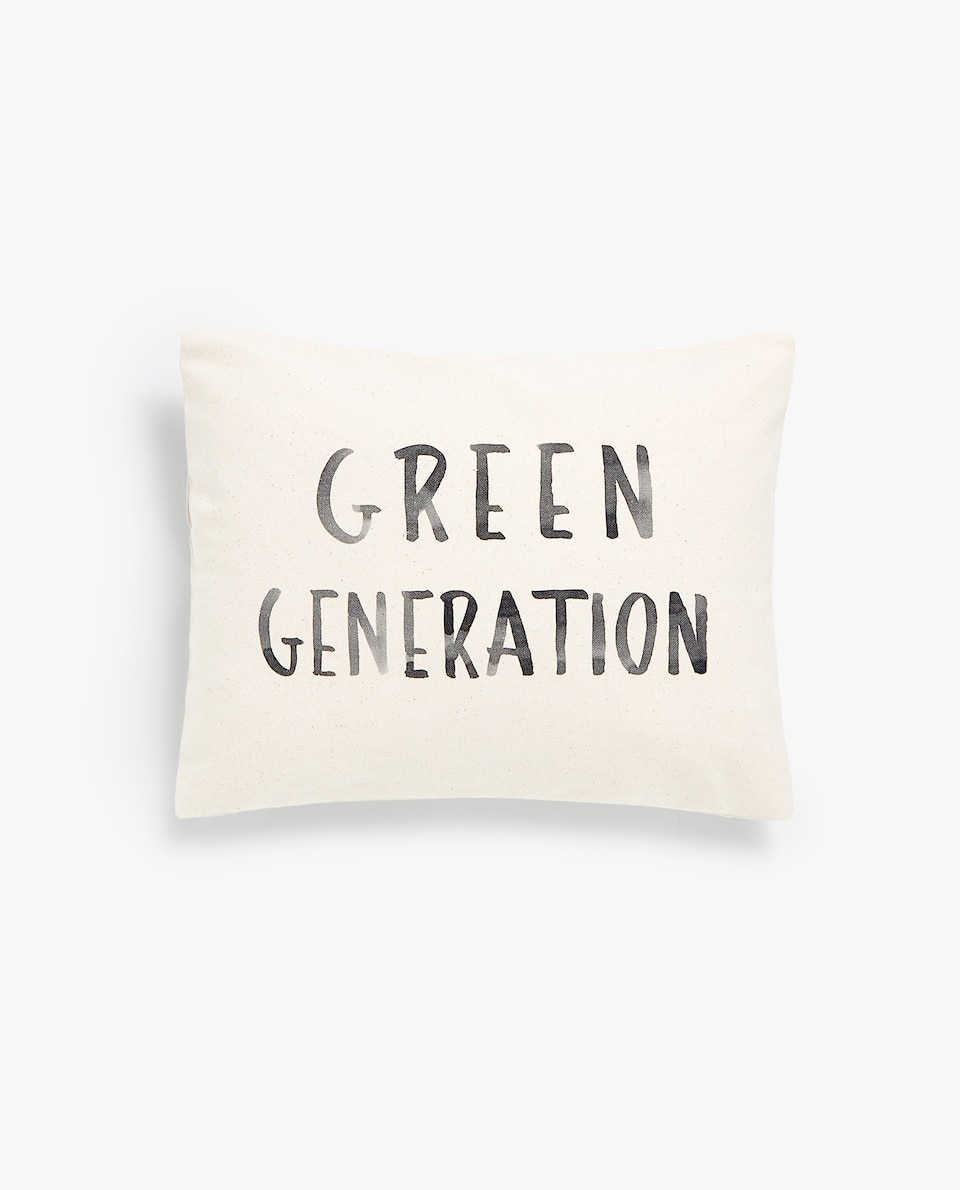 NATURAL COTTON THROW PILLOW COVER WITH SLOGAN