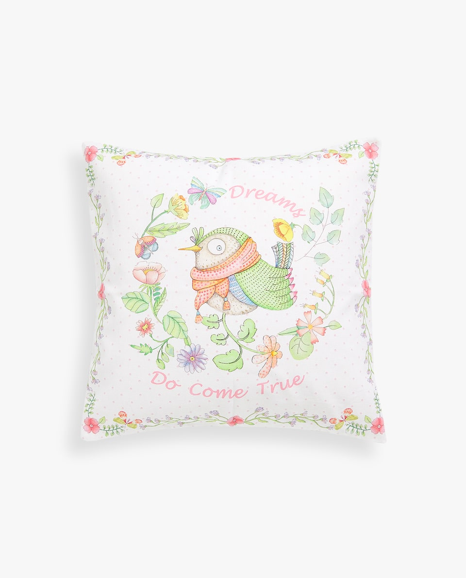 BIRDS AND FLOWERS CUSHION COVER