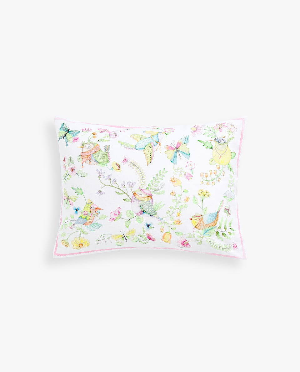 BIRDS AND BUTTERFLIES CUSHION COVER