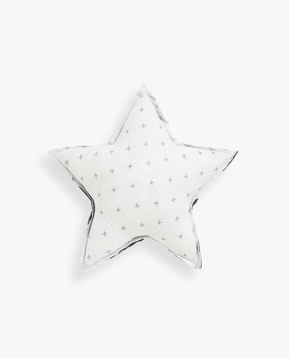 KIDS' LINEN STAR CUSHION