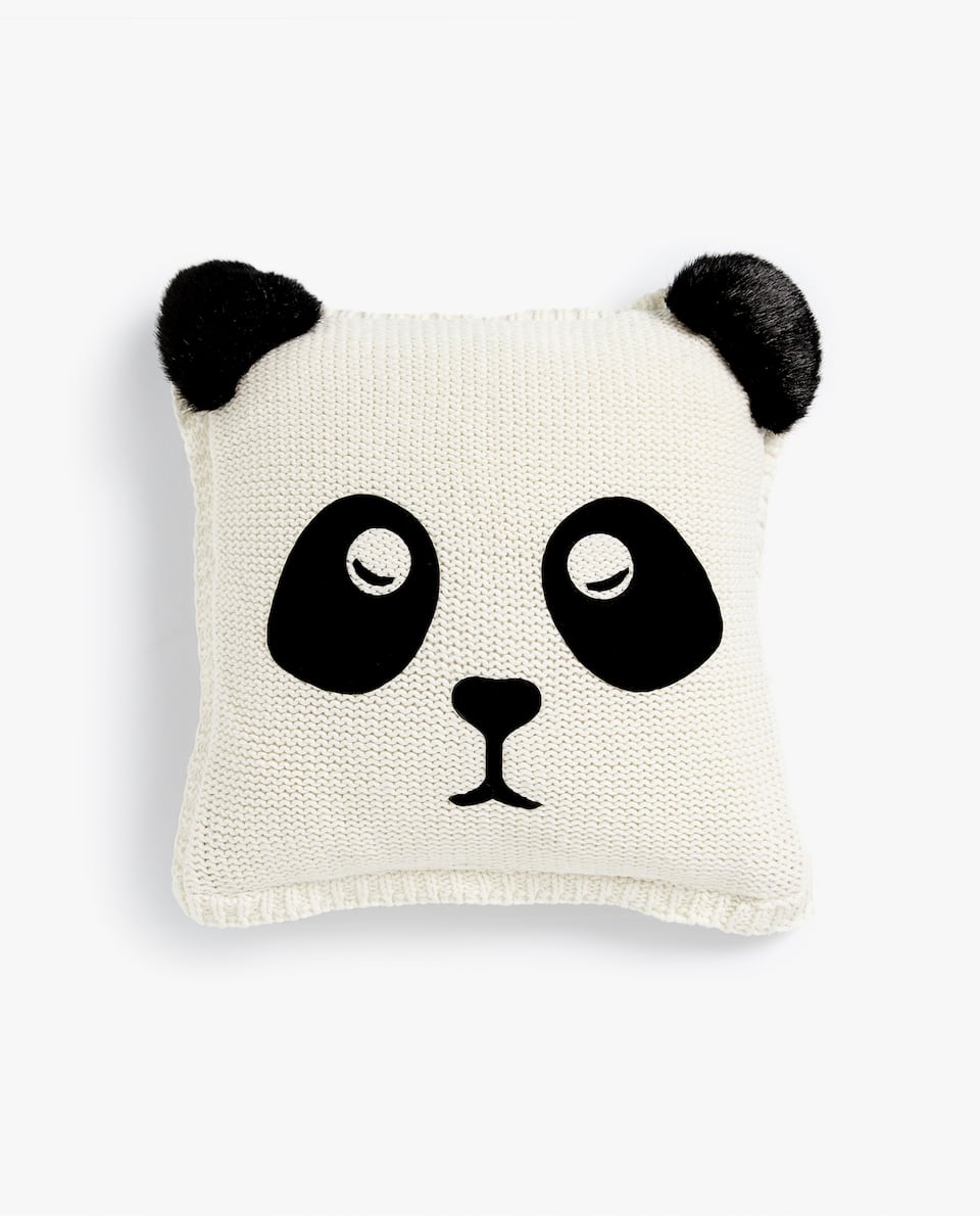 PANDA BEAR KNIT CUSHION COVER