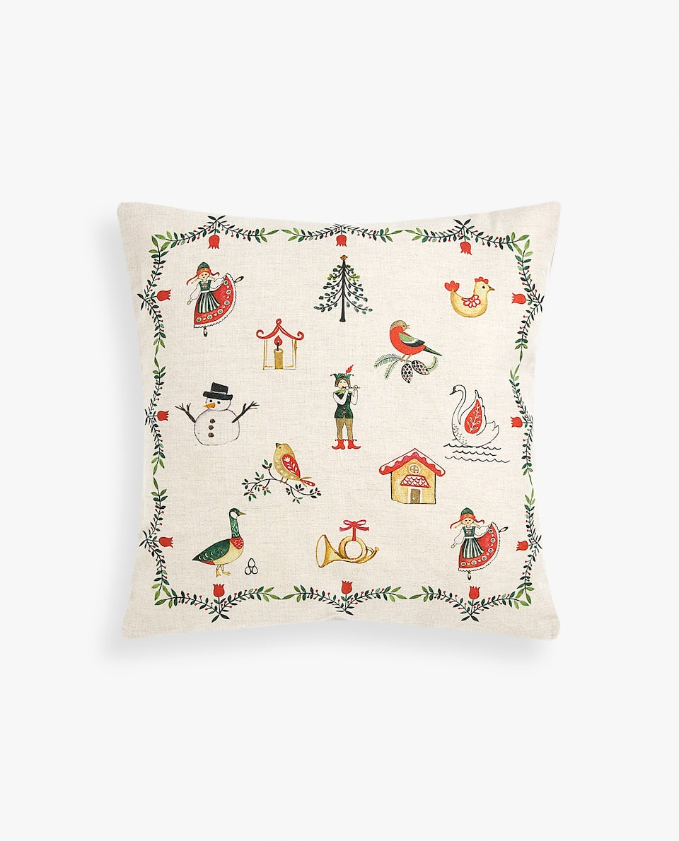 CHRISTMAS PRINT CUSHION COVER