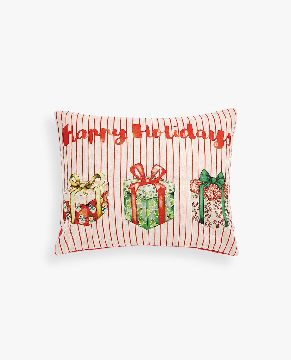 'HAPPY HOLIDAYS' CUSHION COVER