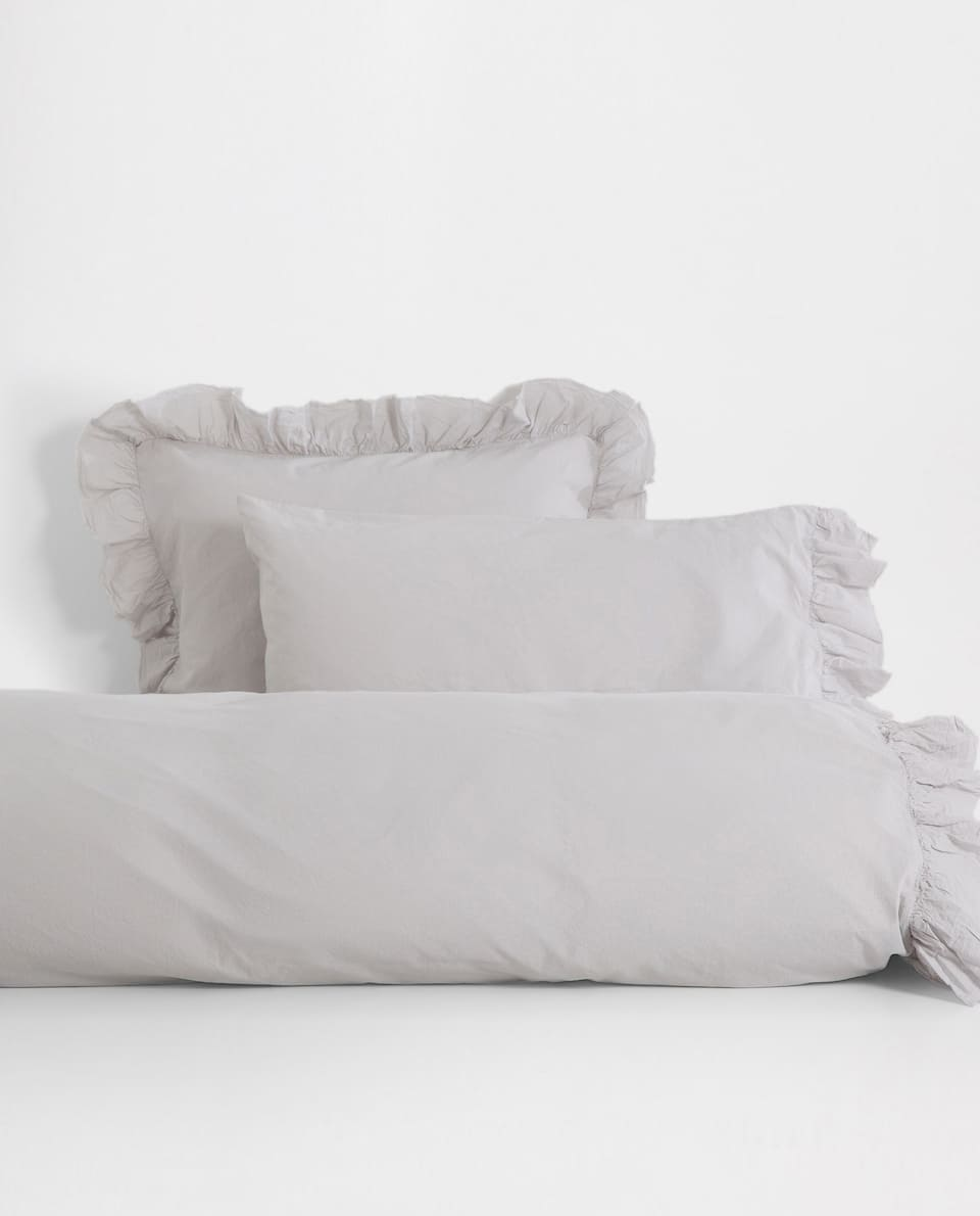 FADED COTTON DUVET COVER WITH RUFFLE TRIM